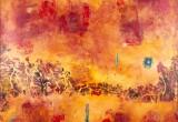 Les Pierres rouges turquoises / 120x120 cm / 2005 / Argile Encre