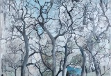 Promenade au bois / 100x100 cm / 2013 / Acrylique Collage Encre