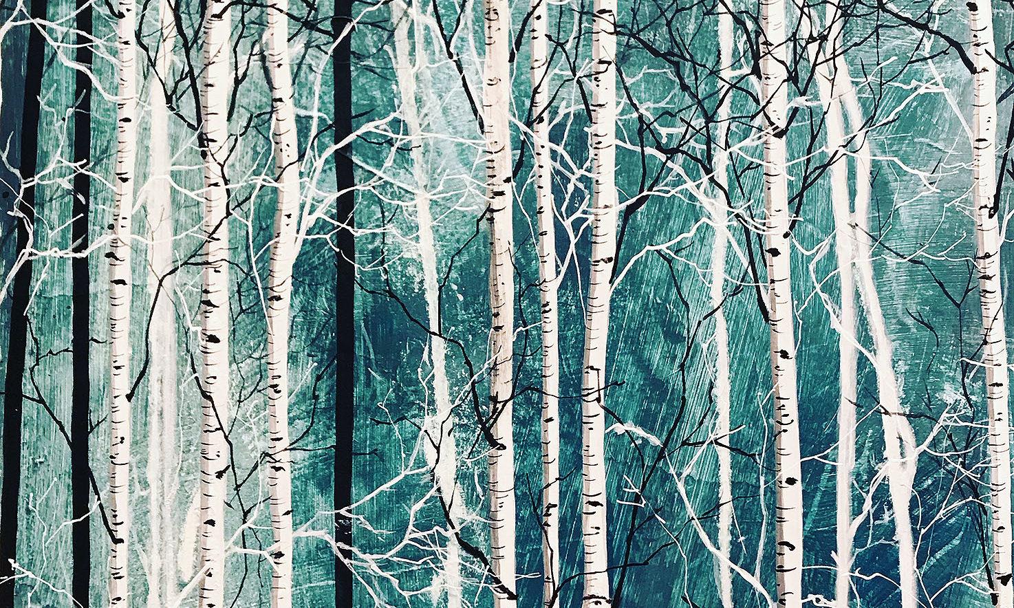 Variation 1 de Forêts / 40x40 cm / 2019 / Acryl Collage Ink
