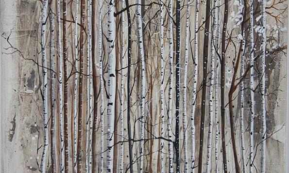 Variation 2 de Forêts / 40x40 cm / 2019 / Acryl Collage Ink