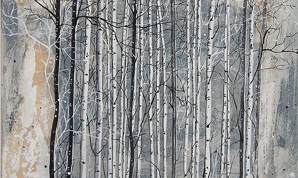 Variation 3 de Forêts / 40x40 cm / 2019 / Acryl Collage Ink